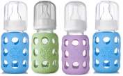 Lifefactory Glass Baby Bottles 4 Pack (120ml in Boy Colours) - Green/Lilac/Blue