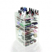 Houseables Acrylic Clear Makeup Case Display Box Organiser 3 4 5 6 7 Drawers w/ Top Tray