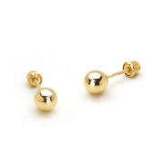 14k Yellow Gold 2,3,4,5,6mm Plain Hollow Gold Ball Children Screw back Girls Earrings