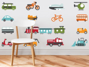 Transportation Fabric Wall Decals - Complete Set - Trains, Planes, Cars, Bikes, Tractors, and More - Size Medium