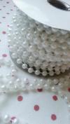 Ethrift 8mm MOT White Pearls Plastic Beads Garland Ribbon 8 Yard