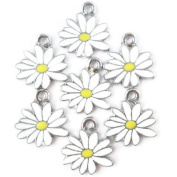 Np Supplies 12 Little White Yellow Daisy Flower Charms Enamel Charm Pendant