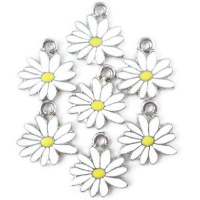 Np Supplies 12 Little White Yellow Daisy Flower Charms Enamel Charm Pendant (NS298)