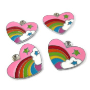 Np Supplies 4 Colourful Rainbow Powerpuff Girl Lovely Heart Enamel Charms