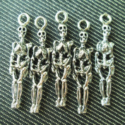 Np Supplies 6 Skeleton Charms Antique Voodoo Dark Tibetan Silver Tone