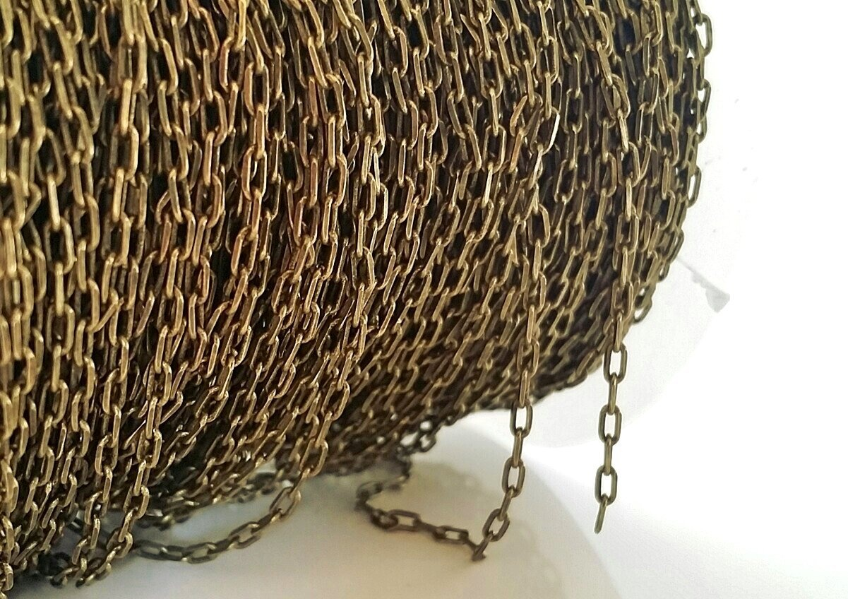 Antique-Brass-1-5m-Bulk-Square-Link-Cable-Chain-Necklace-Jewlery-Making