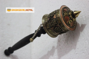 25cm Tibetan Buddhist Om Mani Handmade Copper Hand Prayer Wheel - Very Artistic Auspicious 8 Lucky Symbols