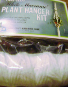 Vintage Fibre Craft 90cm White Macrame Plant Hanger Kit Style 2141A With Dark Wood Beads
