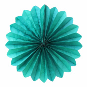 SUNBEAUTY Teal 5pcs 36cm Handcraft Tissue Paper Fan Party Wedding Birthday Showers Decorations