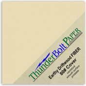 50 Earthy Driftwood Fibre 80# Cover Paper Sheets - 10cm X 10cm (10cm X 10cm ) Small Square Card Size - 36kg/pound Card Weight - Light Tan Colour with Natural Fibres - Smooth Finish