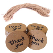 200pcs Thank You Wedding Brown Kraft Paper Tag With Jute Twines
