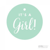 Andaz Press Round Circle Girl Baby Shower Gift Tags, It's A Girl!, Solid Mint Green, 24-Pack, For Presents, Gifts, Favours, Boxes, and Treat Bags