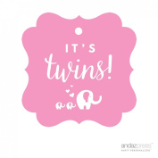 Andaz Press Fancy Frame Square Twins Baby Shower Gift Tags, It's Twins!, Solid Elephants Pink, 24-Pack