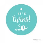 Andaz Press Round Circle Twins Baby Shower Gift Tags, It's Twins!, Solid Elephants Diamond Blue Aqua Turquoise, 24-Pack