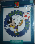 "Mickey Unlimited Cross-Stitch Kit #36021, ""Kick-It!""; Mickey Mouse with Soccer Ball"