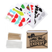 54pcs On A Stick Photo Booth Props Masks Wedding Christmas Party Birthday Fun