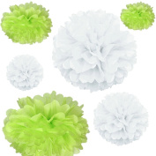 Joinwin® 12PCS Mixed Sizes White Lime Green Tissue Paper Flower Pom Poms Pompoms Wedding Birthday Party Nursery Decoration
