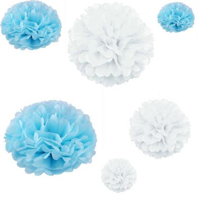 Joinwin® 12PCS Mixed Sizes White Aqua blue Tissue Paper Flower Pom Poms Pompoms Wedding Birthday Party Nursery Decoration
