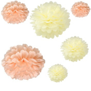 Joinwin® 12PCS Mixed Sizes Peach Ivory Tissue Paper Flower Pom Poms Pompoms Wedding Birthday Party Nursery Decoration
