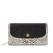 Eric Javits Women's Clutch Wallet Handbag Black/Bone Mix