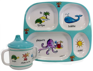 Baby Cie Ocean Friends Plate and Sippy Cup 2 Piece Set