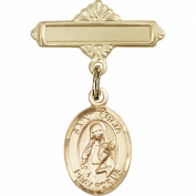 Gold Filled Baby Badge with St. Lucia of Syracuse Charm and Polished Badge Pin 2.5cm X 1.6cm