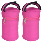 Flexible Use Insulated Tote Bags For Girls-Fits All Brands Baby Bottles, Great For Sippy Cups, Sports Drinks, Snack Packs- 2 Pink Carriers Order Today