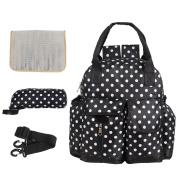 LCY High-Capacity 4pcs Backpack Nappy Bag Set Black With Big Dots