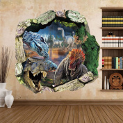 Zooarts® Dinosaur Cracked Wall Removable Vinyl Mural Art Wall Sticker Decal