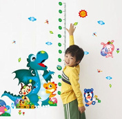 Dnven (110cm w X 140cm h) Baby Kids Dinosaur Height Measure Vinyl Peel and Stick Wall Stickers Wall Decals Removable Decors for Bedrooms Children Rooms Nursery