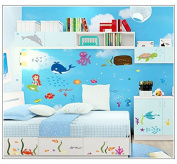 Dnven (150cm w X 130cm h) Undersea Fishes Tropical Fishes Coral Whales Octopus Vinyl Wall Stickers Wall Decals Removable Decors for Bedrooms Children Rooms Nursery