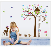 Dnven (140cm w X 110cm h) Animals Paradise Owls Monkeys Hedgehog Deer House Vinyl Wall Stickers Wall Decals Removable Decors for Bedrooms Children Rooms Nursery