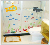 Dnven (130cm w X 90cm h) Undersea Fishes Tropical Fishes Coral Submarine Vinyl Wall Stickers Wall Decals Removable Decors for Bedrooms Children Rooms Nursery