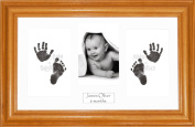 Anika-Baby BabyRice Baby Hand and Footprints Kit includes Black Inkless Prints/ Honey Pine Wooden Frame with White Mount Display