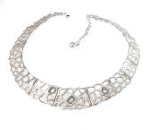 .35 CTS Diamond Cut-Out Sterling Silver 925 Collar Chain Necklace Raymond Hak
