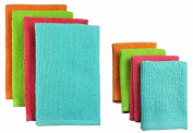 Pack of 8 Solid Tropical Coloured Dish Towel and Wash Cloth Kitchen Accessory Set - Terry Cloth