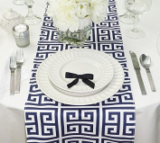 Navy Blue and White Table Runner