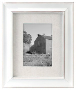 Malden International Designs Barnside Textured Mat Picture Frame, Holds 13cm by 18cm Picture, White