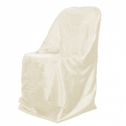 LinenTablecloth Satin Folding Chair Cover Ivory