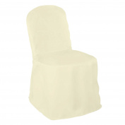 Lann's - 10 Wedding Banquet Chair Covers - Ivory Polyester Cloth