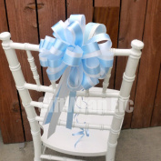 White & Baby Blue Striped Wedding Pull Bows with Tails for Church Pews and Chairs - 20cm Wide, Set of 6