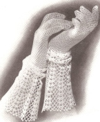 Vintage Crochet PATTERN to make - Fishnet Lace Mesh Gloves Cuffed Wedding Party. NOT a finished item. This is a pattern and/or instructions to make the item only.