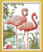 Happy Forever Cross Stitch Animal, two flamingos