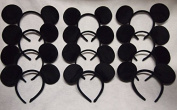 Lot of 12 Mickey Mouse Ears Solid Black Headband Minnie Birthday