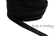 1cm Black Fold Over SATIN Elastic! 5 yards!