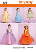 SIMPLICITY 1303 TOODLER / GIRLS' PRINCESS, FAIRY, WITCH COSTUMES (SIZE 3-6) SEWING PATTERN