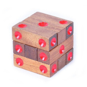 KINGOU Wooden Assembling Dice Cube Jigsaw Puzzle Brain Teaser