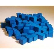 Blue Cubes - 100 Large 10mm Wooden Cubes
