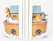 Set of 2 Decorative Noah's Ark Children's Bedroom Religious Bookends 17cm