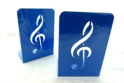 Music Themed Bookend - A Pair of Solid Blue Treble Clef Design Metal Book Stand